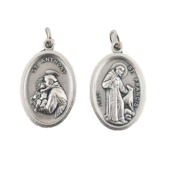 Szent Ferenc / Szent Antal ezüstözött érem