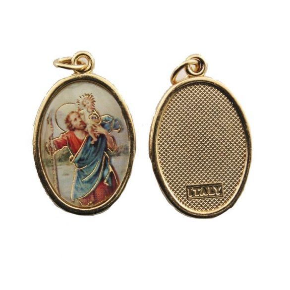 Szent Kristóf aranyozott medál