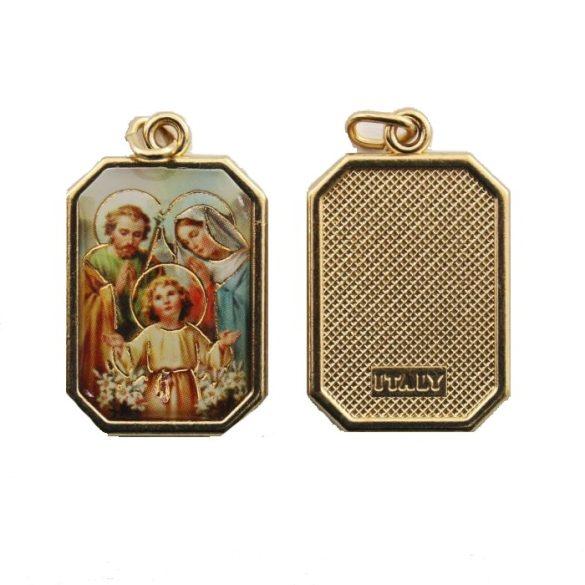 Szent Család aranyozott medál