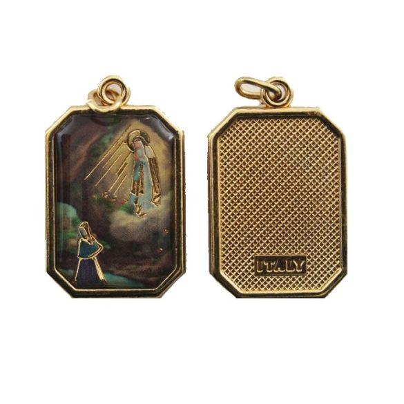 Lourdes-i Szüzanya aranyozott medál