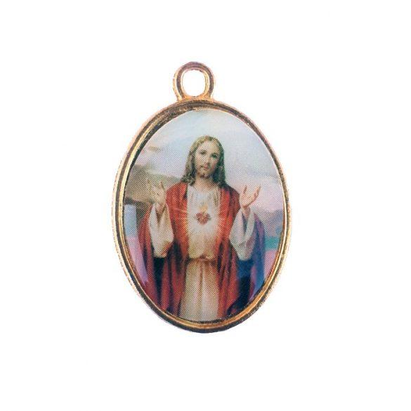 Jézus Szíve aranyozott medál