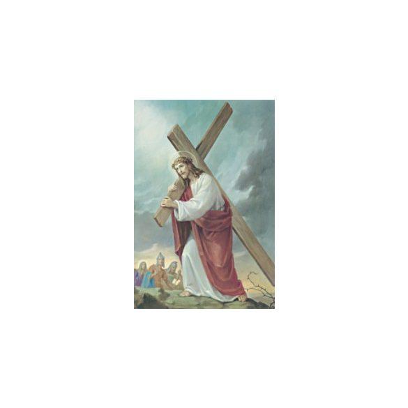 Keresztet hordozó Jézus szentkép